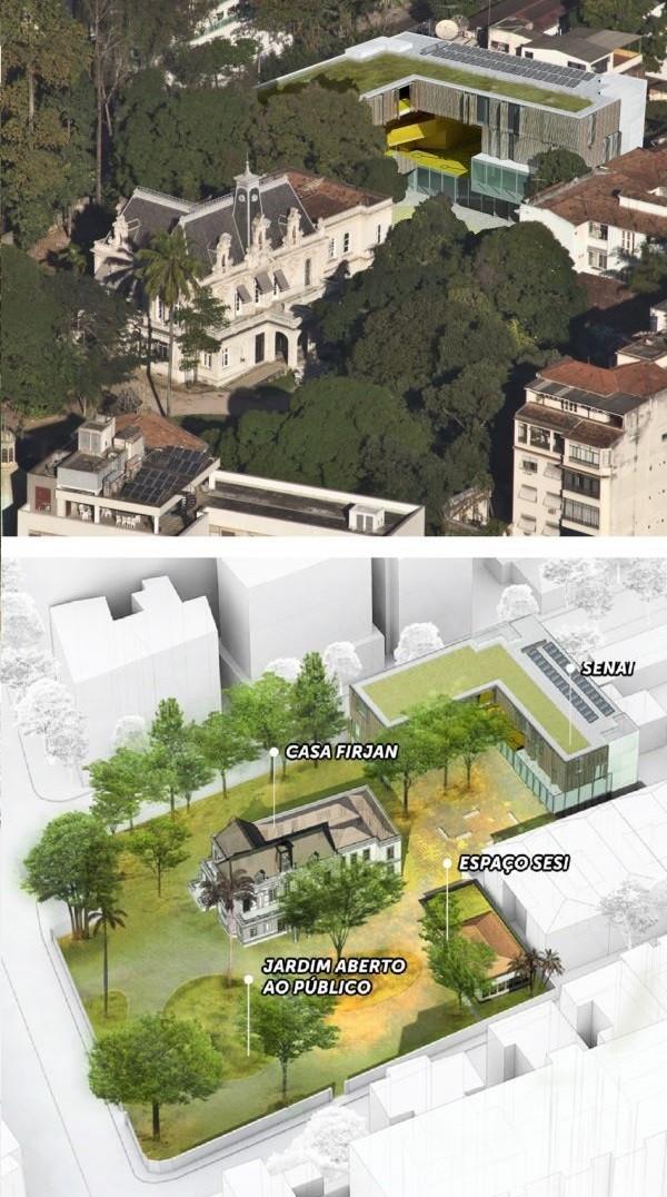 Fotomontagem - O palácio e o novo prédio