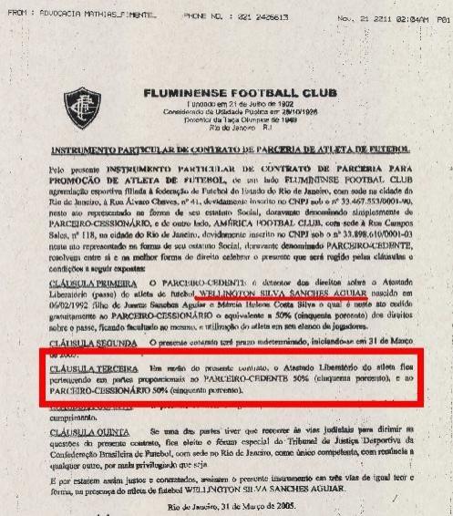 Documento que prova partilha do passe de Wellington Nem entre Fluminense e America-rj (Foto: Reprodução)
