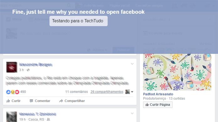 Plugin para o Chrome força usuário a parar de usar o Facebook e se concentrar em suas tarefas (Foto: Reprodução/Facebook)