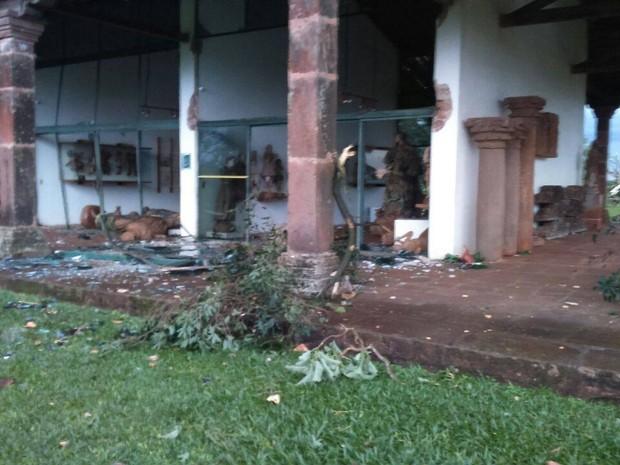 Museu de São Miguel das Missões (RS) foi destruído (Foto: Defesa Civil/Duvulgação)