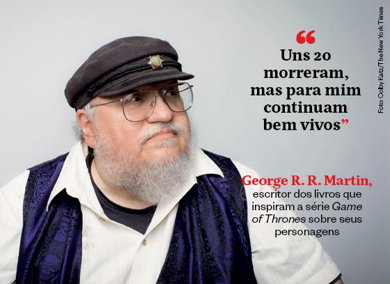 """""""Uns 20 morreram, mas para mim continuam bem vivos"""" - George R.R. Martin, escritor dos livros que inspiram a série 'Game of Thrones' sobre seus personagens (Foto: Colby Katz/The New York Times)"""