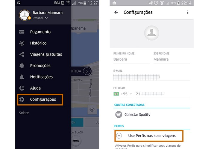 Inicie a configuração do perfil profissional no app do Uber (Foto: Reprodução/Barbara Mannara)