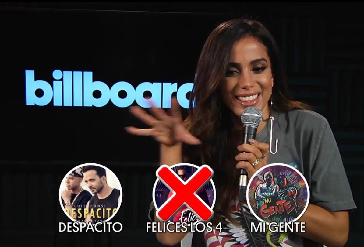 Entre 'Mi Gente', 'Felices Los 4' e 'Despacito', Anitta prefere ficar com os hits de J Balvin e Luis Fonsi (Foto: Reproduo/Billboard)