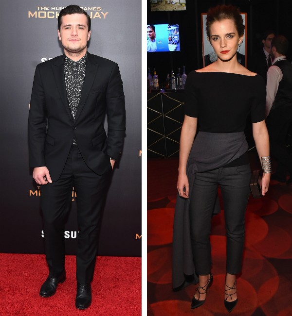O ator Josh Huctherson e a atriz Emma Watson (Foto: Getty Images)