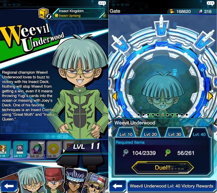 Yu-Gi-Oh! Duel Links: Weevil Underwood após derrotar 100 duelistas comuns (Foto: Reprodução/Vinícius Mathias)