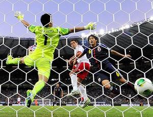 Chicharito gol jogo México Japão (Foto: AFP)