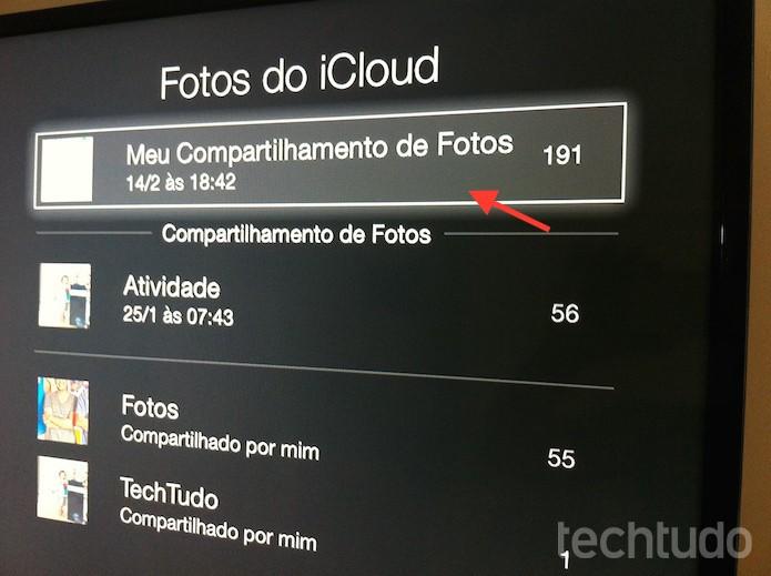 Configurando o compartilhamento de fotos do iCloud como protetor de tela da Apple TV (Foto: Marvin Costa/TechTudo)