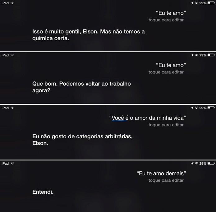 Siri responde Eu te amo de diferentes formas (Foto: Reprodução/Elson de Souza)