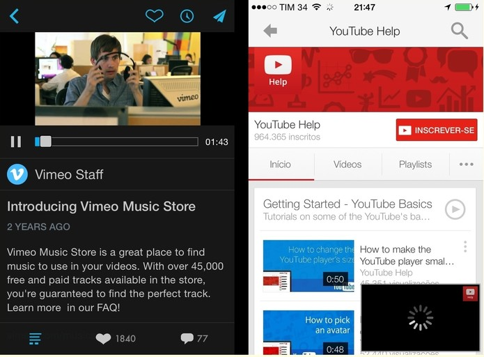 Comparativo entre plataformas mobile do Vimeo e do YouTube (Foto: Reprodução/Paulo Finotti)