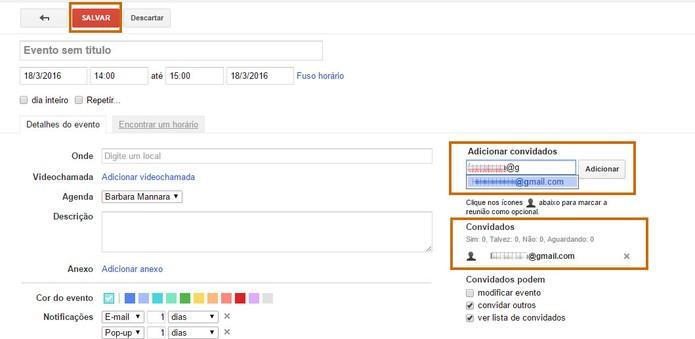 Adicione convidados para seu evento usando os contatos do Gmail e confirme em Salvar (Foto: Reprodução/Barbara Mannara)