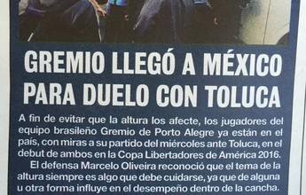 Jornais destacam chegada antecipada do Grêmio ao México para estreia