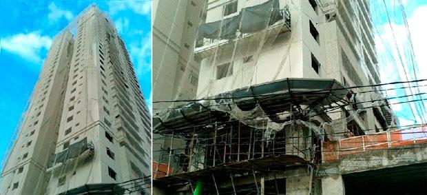 Operário caiu de uma plataforma suspensa no 25º andar do prédio em Natal (Foto: Francisco Júnior/Inter TV Cabugi)