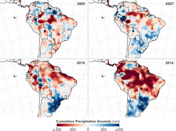 Mapas da Nasa mostram anomalia de chuvas na Amazônia nos anos de 2005, 2007, 2010 e 2016. Área em vermelho mostra seca. Em 2016, Amazônia está muito mais seca do que nos outros anos, o que indica período intenso de queimadas (Foto: Nasa)