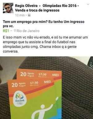 Em post, brasileiro troca emprego por ingresso (Crédito: Reprodução)