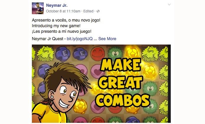 Postagem na página do Facebook do craque sobre o game NaymarJr (Foto: Reprodução/ Facebook)