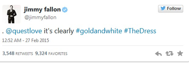 Jimmy Fallon: 'É claramente dourado e branco' (Foto: Reprodução / Twitter)