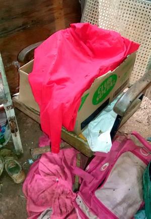Corpo do bebê estava dentro de um caixa de papelão, jogada no lixão (Foto: Divulgação/Polícia Militar)