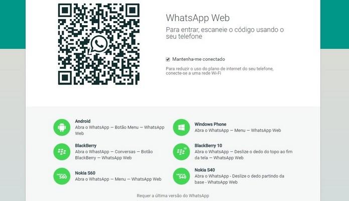 Procedimento para fazer login no WhatsApp Web (Foto: Reprodução/ WhatsApp)