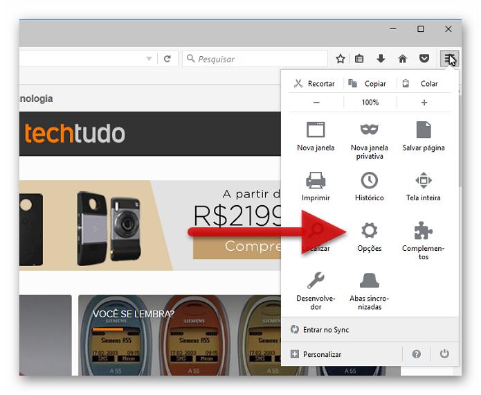 Acessando as opções do Firefox (Foto: Reprodução/Helito Bijora)