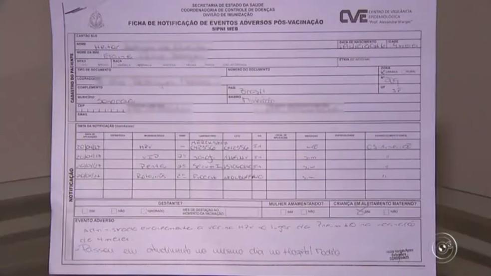 Unidade de saúde emitiu documento que confirma o erro na aplicação (Foto: Reprodução/TV TEM)