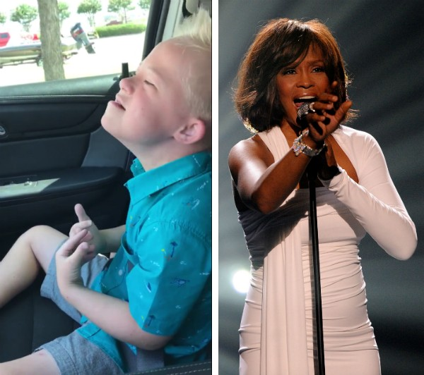 O pequeno Dane Miller e a cantora Whitney Houston (Foto: YouTube/Getty Images)
