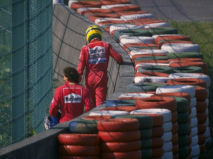 Ayrton Senna Alain Prost Suzuka GP do Japão 1990 (Foto: Getty Images)