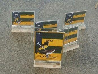 Troféus que seriam utilizados no torneio de canto de pássaros também foram apreendidos (Foto: Divulgação/Pelotão Ambiental)