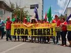 Manifestantes fazem ato contra Temer em Maceió nesta quinta-feira