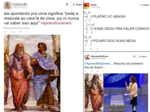 O filósofo Platão 'bombou' nas redes sociais depois de aparecer no primeiro dia de provas do Enem (Foto: Reprodução/Twitter)