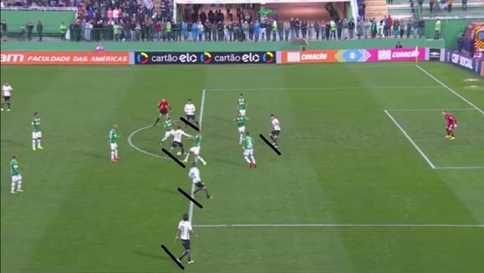 Rodriguinho aparece no ataque e dá vantagem numérica ao Corinthians (Foto: Reprodução/TV Globo)
