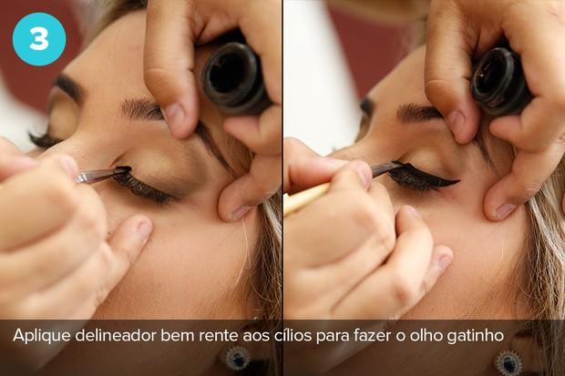 Terceiro passo: aplique delineador bem rente ao cílios para fazer o olho gatinho (Foto: Marcos Serra Lima/Ego)
