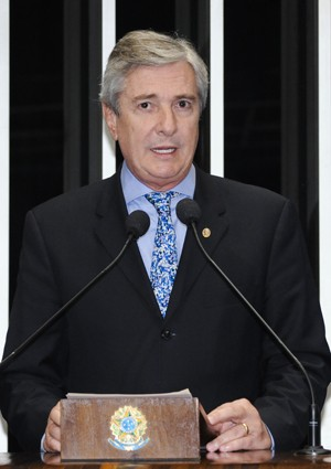 O ex-presidente e senador Fernando Collor, na tribuna do Senado (Foto: Waldemir Barreto/Agência Senado)