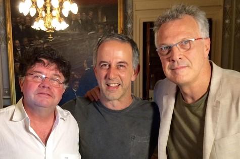 Marcelo Madureira, João Barone e Pedro Bial (Foto: Divulgação)