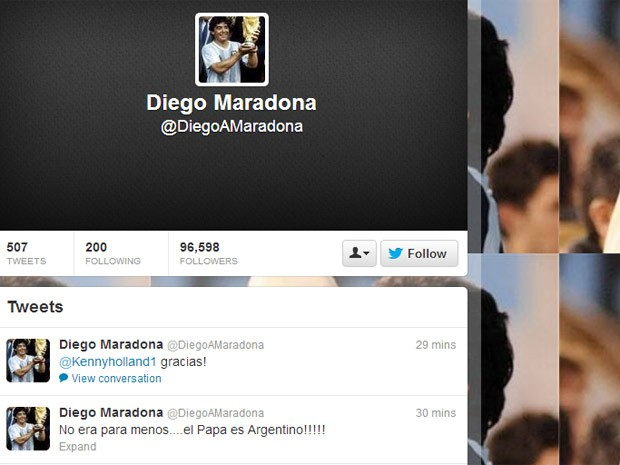 Página do Twitter de Diego Maradona (Foto: Reprodução)