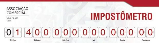 Impostômetro atingiu R$ 1,4 trilhão neste domingo (9) (Foto: Reprodução/ACSP)