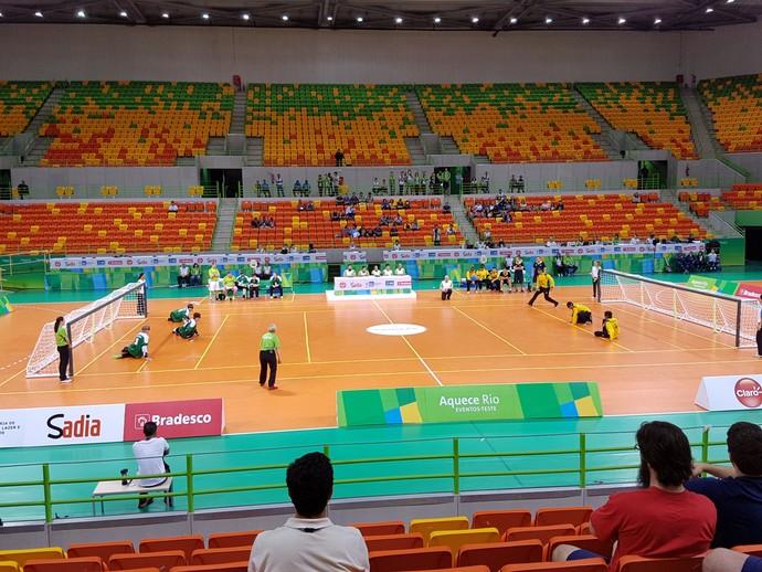 Arena do Futuro é aprovada em evento-teste de goalball. Brasil fica em primeiro lugar (Foto: Helena Rebello)