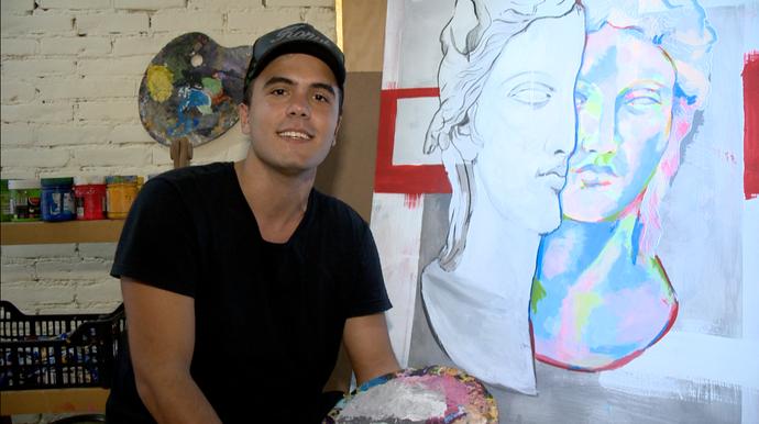 Hiago Silva, 21, é um jovem artista plástico morador de Cariacica (Foto: Divulgação / TV Gazeta ES)