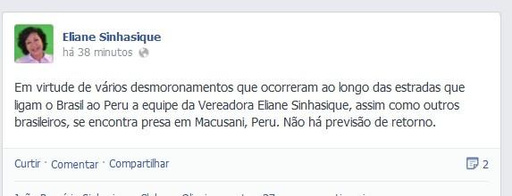 Postagem em rede social da vereadora informa sobre situação de grupo na estrada do Peru (Foto: Reprodução Facebook)