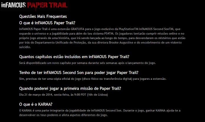 FAQ mostra detalhes do game (Foto: Thiago Barros/Reprodução)