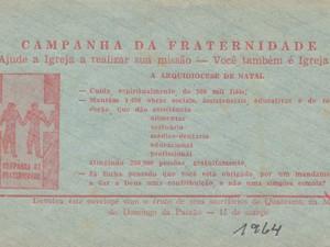 Envelope da 1ª Campanha da Fraternidade em âmbito nacional (Foto: Arquivo Arquidiocese de Natal)