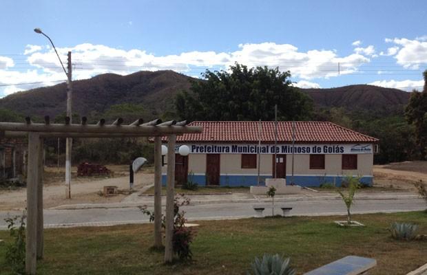 Prefeitura de Mimoso de Goiás, onde só mulheres são candidatas a prefeita nestas eleições (Foto: Elisângela Nascimento/G1)