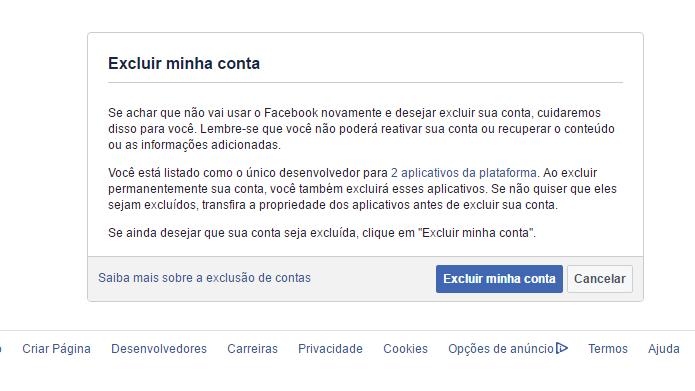Usuário pode excluir sua conta usando suas credenciais de acesso (Foto: Reprodução/Facebook)