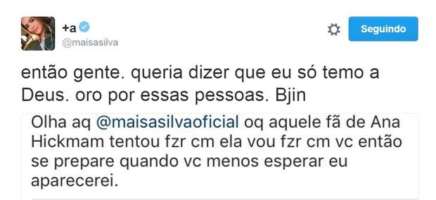 Maisa Silva recebe ameaça de morte pelo Twitter (Foto: Reprodução/Twitter)