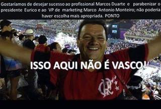 Vascaínos fazem montagem com novo gerente de marketing de camisa do Flamengo (Foto: Reprodução)