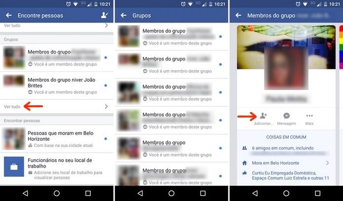 Localização de amigo no Facebook através dos grupos (Foto: Reprodução/Raquel Freire)
