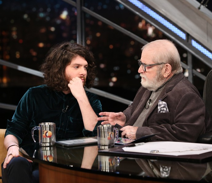 Jô Soares entrevista o cantor Dani Black no Programa do Jô (Foto: Carol Caminha/Gshow)