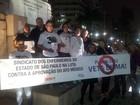 Manifestantes protestam em Santos contra o projeto 'Ato Médico'