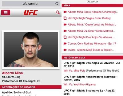 Alberto Miná, gafe, site UFC (Foto: Reprodução)