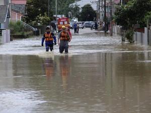 Ruas de Presidente Getúlio foram alagadas (Foto: Bianca Lima Heess/Prefeitura Presidente Getúlio)