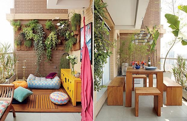 É comum que os prédios novos tenham varandas grandes. Criar espaços para receber ou relaxar são alguns dos usos possíveis, como no projeto da arquiteta Gabriela Marques (Foto: Victor Affaro/Casa e Jardim)